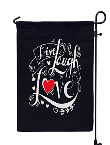 Soopat Live Laugh Love Seasonal Flag, Live Laugh Love Postcard Abstract Alphabet Black Weatherproof Double Stitched Outdoor Decorative Flags for Garden Yard 12''L x 18''W Welcome Garden Flag