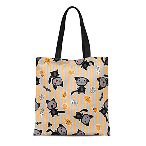 Semtomn Canvas Tote Bag Orange Anime Kawaii of Halloween Related and Creatures Animal Durable Reusable Shopping Shoulder Grocery -