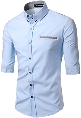 Jeansian Hombres Informal 2/3 Mangas Vestido Fit Slim Camisas Premium Oficina Tops 84D9 LightBlue