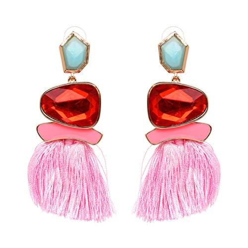 (Colorful Tassel Earrings Bohemian Dangle Drop Earrings For Women Girls Vintage Gemstone Drop Stud Earrings)