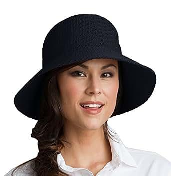 Coolibar UPF 50+ Women's Marina Sun Hat - Sun Protective (One Size - Black)