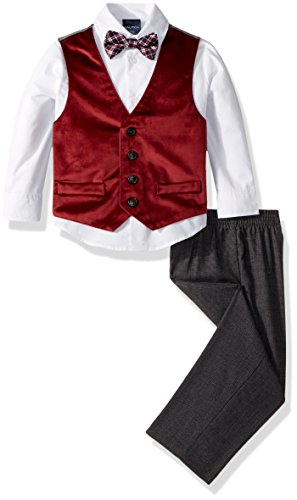 Nautica Boys' 4-Piece Vest Set with Dress Shirt, Bow Tie, Vest, and Pants, Dark Red, 4T]()