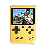 Handheld Games Console for Kids Adults - Retro Video Games Consoles 3 inch Screen 168 Classic Games 8 Bit Game Player with AV Cable Can Play on TV (Yellow)
