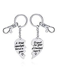 Meiligo Fashion 2 Pcs Best Friends Friendship Gold Silver Heart Tag Necklace Key Chain Set Double Heart Jewelry matching Love Heart Key chain Pendant