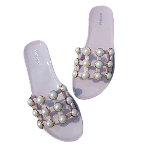 Vertvie Femme Été Chausson Pantoufle Plate Souple Incrusté Perles Sandales De Plage Chaussures Maison Antidérapant Rose