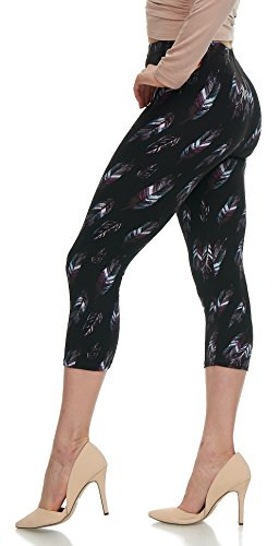 LMB Lush Moda Extra Soft Leggings With Designs- 503C New Feather on Black - New Feather