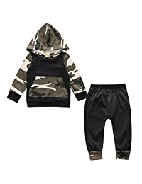 Infant Baby Boys Camouflage Hoodie Tops + Long Pants Outfits Set Clothes 7-24M