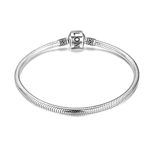 (LONAGO Women's Genuine Sterling Silver Snake Chain Bead Clasp Charm Bracelet Jewelry for Women Girls (6.7 inches/17 cm))