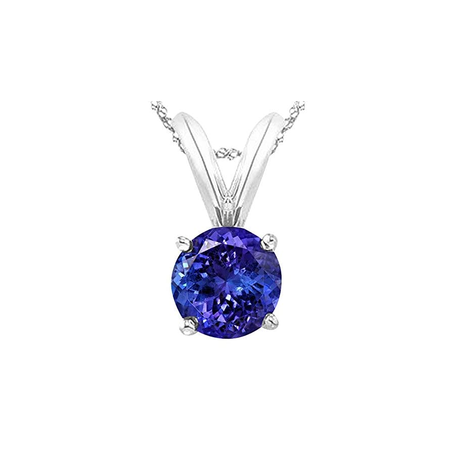 """Houston Diamond District 1/2 5 Carat Round Tanzanite 4 Prong Pendant Necklace (AAA Quality) W/ 16"""" Gold Chain"""