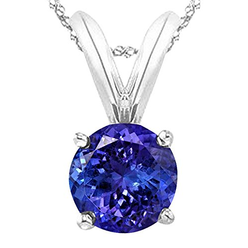 1 Carat 14K White Gold Round Tanzanite 4 Prong Solitaire Pendant Necklace (AAA Quality) W/ 16
