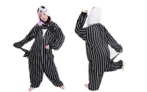 [Unisex Adult Jack Skellington Skeleton Kigurumi Animal Onesie Pajamas Costume Cosplay Clothing Sleepwear Romper] (Role Reversal Halloween Costumes)