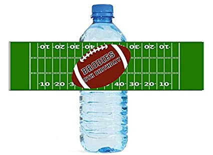 Football Party Theme Water Bottle Labels Easy To Use Self Stick Birthday Team School
