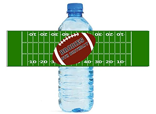 Football Party Theme Water Bottle labels Easy to use self stick Birthday Team ()