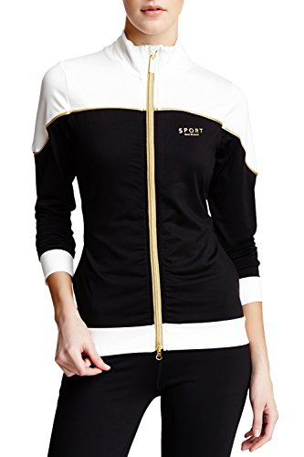 Blk Track - Isaac Mizrahi Sport Two Tone Track Jacket, Med, BLK/WHT