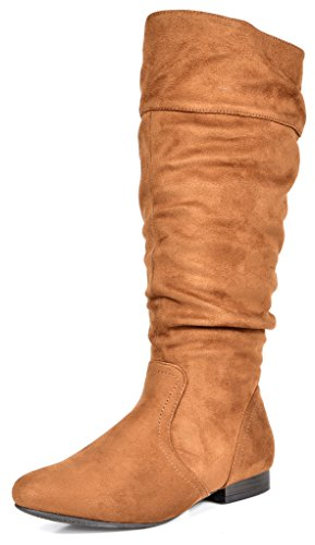 DREAM PAIRS Women's BLVD Tan Knee High Pull On Fall Weather Boots Size 11 M US
