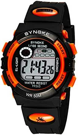 Kids Back Light Multi-function Water-proof Sports Wrist Watches Outdoor Watches Orange