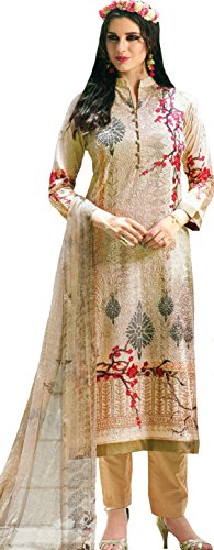 Exotic India Bleached-Sand Digital-Printed Trouser Salwar Kameez Suit wi - Beige Size Large (Kameez Trouser)