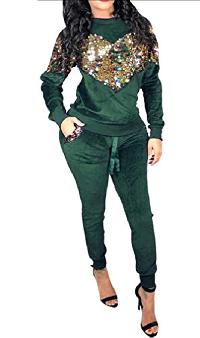 インキュバスインキュバスハッチcheelot Women's Slim Sparkle Sequin Pullover Stretch Pleuche Tracksuit Jog Set