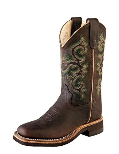 (Old West Cowboy Boots Crepe 4.5 Youth Brown Oily BSY1822 Leather Rubber Sole)
