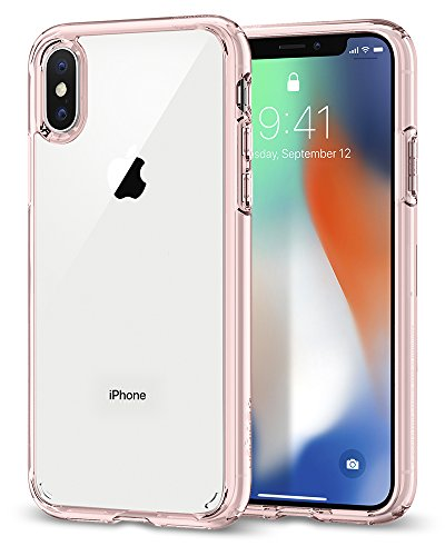 Spigen Ultra Hybrid iPhone X Case with Air Cushion Technology and Clear Hybrid Drop Protection for Apple iPhone X (2017) – Rose Crystal