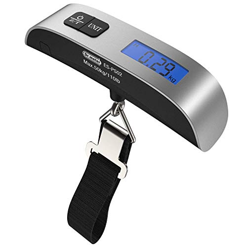 Digital Luggage Scale, Dr.meter 110lb/50kg Backlight LCD Display Electronic Balance Digital Postal Hanging Luggage Weight Scale with Rubber Paint Handle,Temperature Sensor, Silver/Black