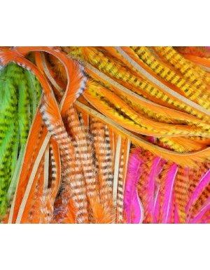 - Hareline Tiger Barred 1/4 Magnum Rabbit Strips - Black Orange Over Tan
