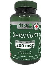 Naka Platinum SELENIUM (Selenomethionine) Extra Strength 200 mcg Antioxidant and Thyroid Support - BONUS SIZE 150 Veggie Caps (BONUS SIZE 110+40 FREE)