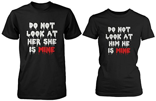 Do Not Look His and Her Matching T-Shirts for Couples - Halloween Horror Shirts ()