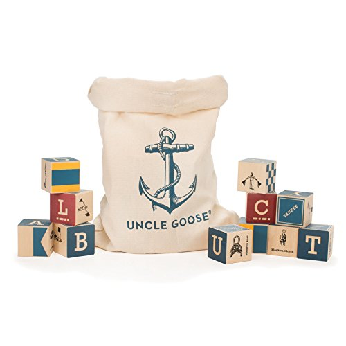 Uncle Goose Nautical Blocks with Canvas Bag - Made in - Uncle Abc Blocks Goose