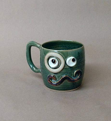Hilarious mustache mug for a gentleman. Funny face coffee cups. Handmade ceramic stoneware pottery. Frosty green. Unique gifts for dad boyfriend husband man. Medium 14-18 Ounces. Green.