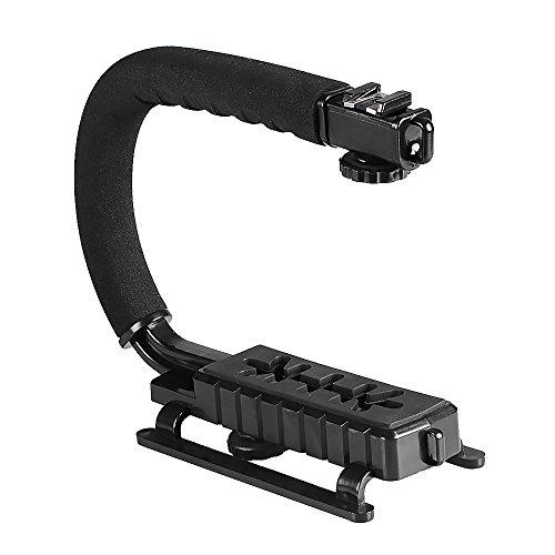 (Hakutatz C Shape U Shape Professional Versatile Video Action Stabilizing Handle Bracket with Hot Shoe Mount for DV Camcorder, DSLR Camera, LED Light, GoPro, iPhone, Flash and Microphone)