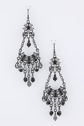 TRENDY FASHION JEWELRY CRYSTAL CHANDELIER EARRINGS BY FASHION DESTINATION | (Black) (Chandelier Necklace Vintage Crystal)