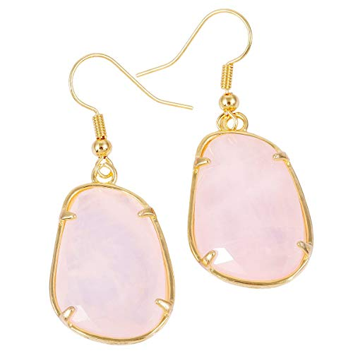 Crystal Stone Pink - SUNYIK Irregular Rose Quartz Dangle Earring, Gold Plated Drop Earrings for Women
