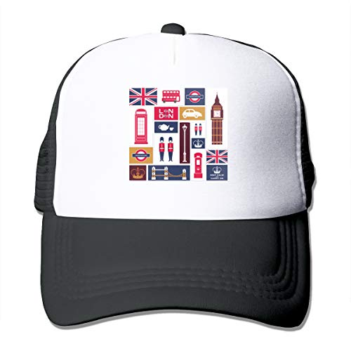 London Icons Classic Trucker Hat Adjustable Baseball Cap for Men and Women Black -