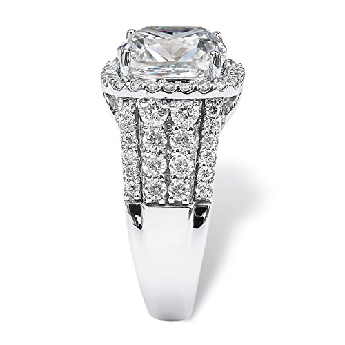 Platinum over Sterling Silver Round Cubic Zirconia Multi Row Halo Engagement Ring Size 10