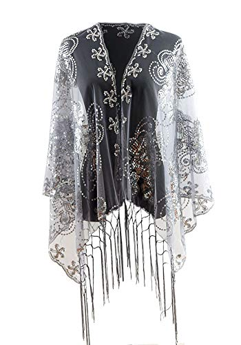 Shawls and Wraps for Evening Dresses, Wedding Dressy Sparkly Scarfs for Women (45silver Sequins)