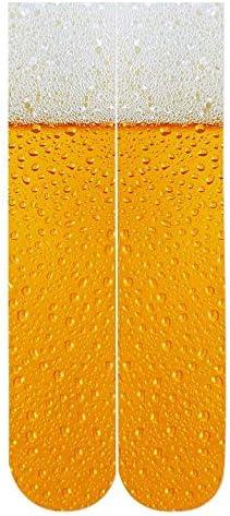 NANAYOUPIN Mode 1 Paar Neue Ananas - Spinne Bier Gelb 3D - Druck - Muster einen Mann eine Frau Lange Socken 38cm Länge Bequeme Persönlichkeit Baumwollsocken Bier