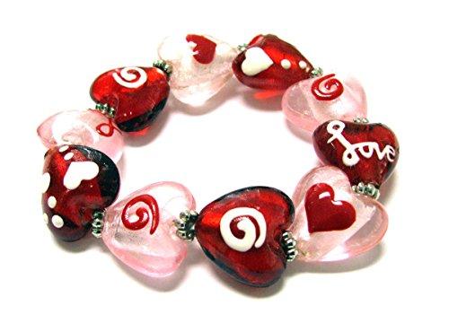 Lamp Bead Heart - Linpeng Fiona Hand Painted Heart Shape Lamp Work Beads Stretch Bracelet