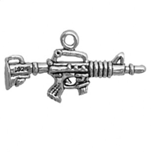 """Sterling Silver 20"""" Boys 1.2mm Box Chain 3D Carbine"""