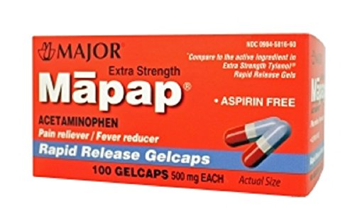 MAPAP 500MG RAPID RELEASE GELCAP ACETAMINOPHEN-500 MG RED/BLUE/GRAY 100 GELCAPS UPC 309045816608 -  Major Pharmaceuticals, 00904-5816-60