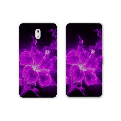 RV Leather Flip Case Samsung Galaxy J3 (2017) - J330 Fleurs - Hibiscus Violet N