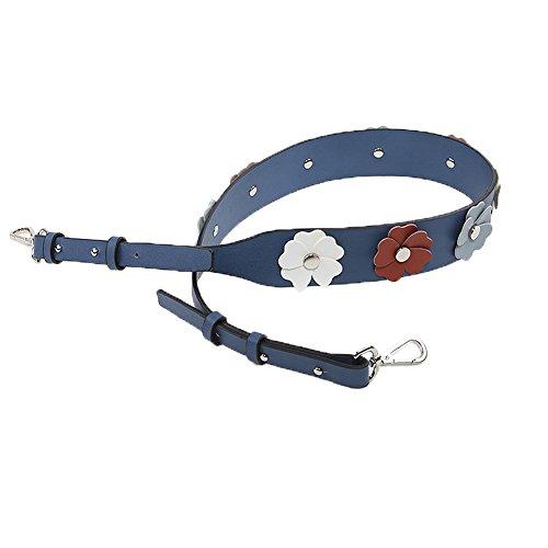 Myathle Wide Flower Purse Straps Replacement Vintage Guitar Handbags Strap for Shoulder Bags Silver Blue