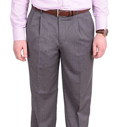 Stafford Classic Fit Light Gray Heather Double Pleated Wool Dress Pants