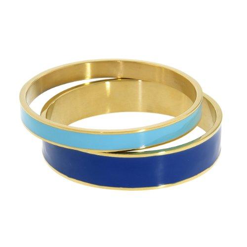 NYC Sterling Women Gold Tone Stainless Steel Enamel Bangle Set (Dark Blue & Light Blue) ()