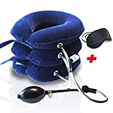 Best Inflatable Cervical Neck Traction Device - CHISOFT Neck Stretcher 3 Layers | Fast Neck Pain Relief Cervical Traction unit | Longer Strap, Bigger Air Pump