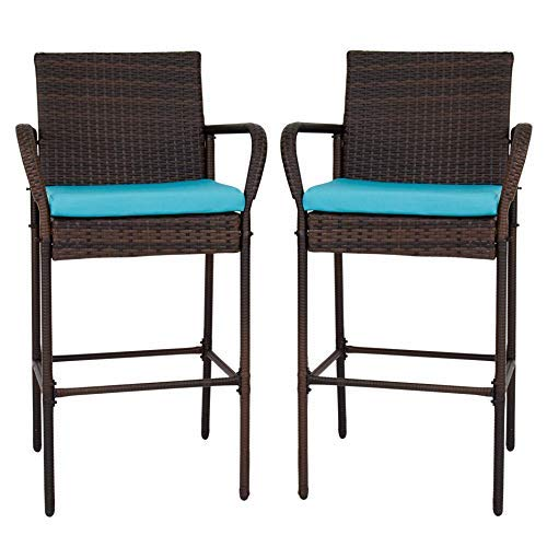 Peach Tree Patio Barstool Set Outdoor Wicker Pool Furniture High Chair Brown w/Free Blue - Pool Bar Furniture