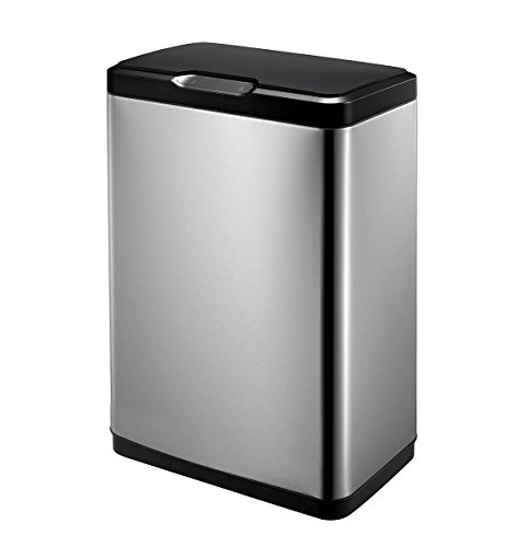 EKO Mirage 50L Stainless Steel Trash Can with Soft Close Lid, Stainless Steel Finish