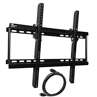 "Fortress Mount TV Wall Mount for 40-70"" TVs up to 165 lbs with 9-feet Braided HDMI Cable"