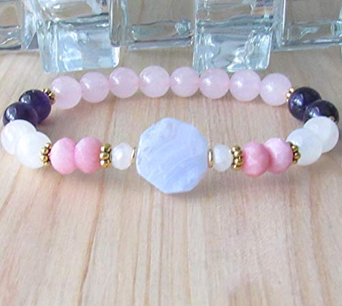 Fertility Bracelet Moonstone, Rose Quartz, Amethyst, Lace Agate, Opal - Crystal Healing, gemstone, Fertility Goddess -