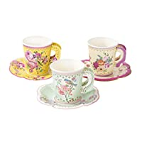 """Talking Tables TS6-CUPSET-VINTAGE Truly Scrumptious Party Vintage Floral Tea Cups and Saucer Sets, Pack of 12, Height 8cm, 3"""", Mixed colors"""